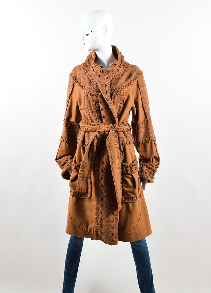 Yves Saint Laurent Brown Wool Woven Knit Belted Sweater Coat Frontview