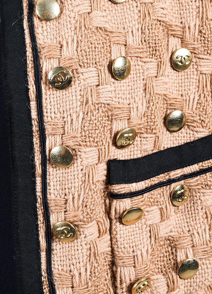 Tan and Black Chanel Woven Button Embellished Skirt Suit Detail