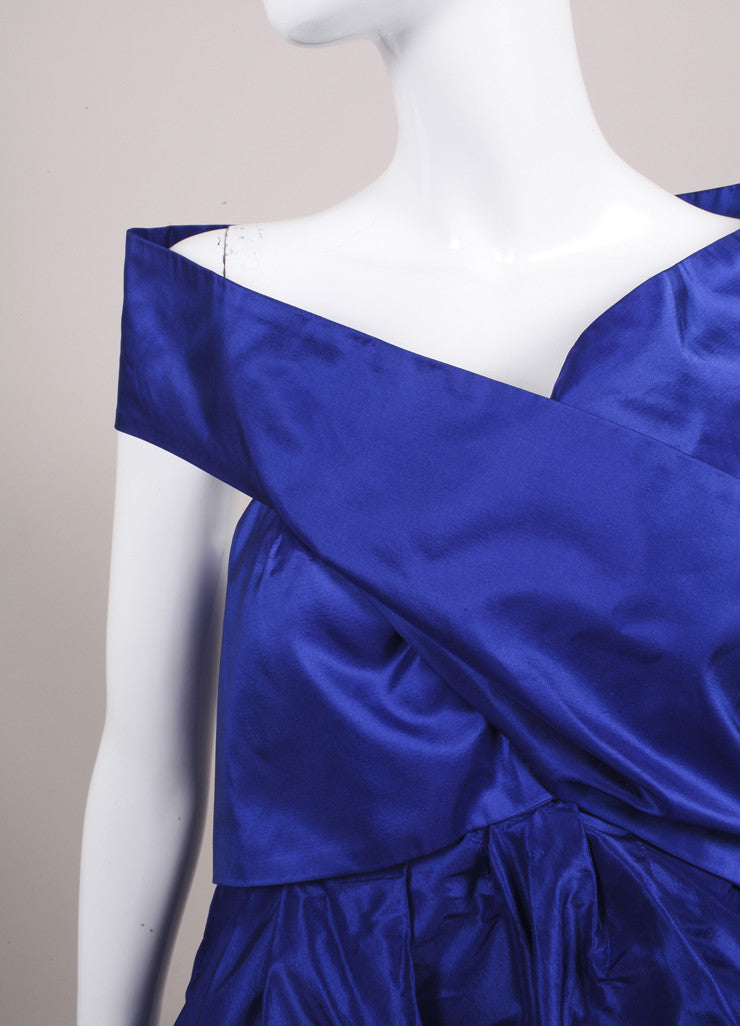 "Wes Gordon ""Lapis"" Blue Silk Taffeta Turban Draped Empire Top Detail"