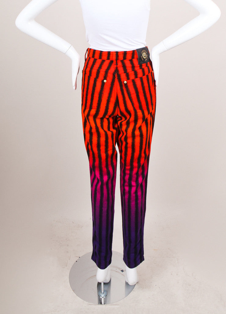 Black, Purple, and Red Striped High Rise Jeans