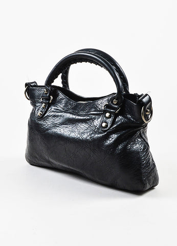 "Balenciaga Black Leather Silver Toned Hardware ""Classic First"" Shoulder Bag Sideview"