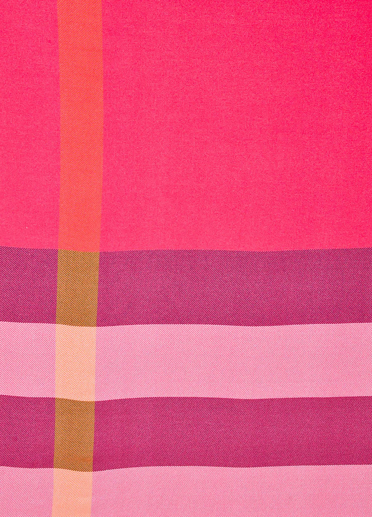 Pink, Black, and Orange Burberry Silk Check Print Scarf Detail 2