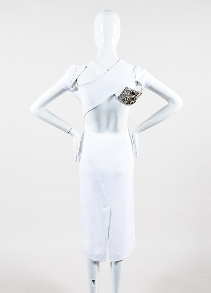 White Crepe Burberry Prorsum Jewel Embellished Crisscross Dress Backview