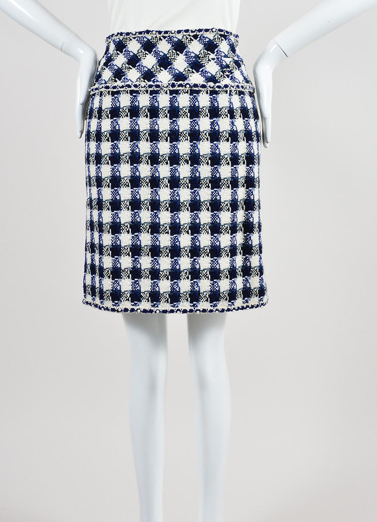 Cream, Blue, and Black Chanel Wool and Faux Pearl Checkered Pencil Skirt Frontview