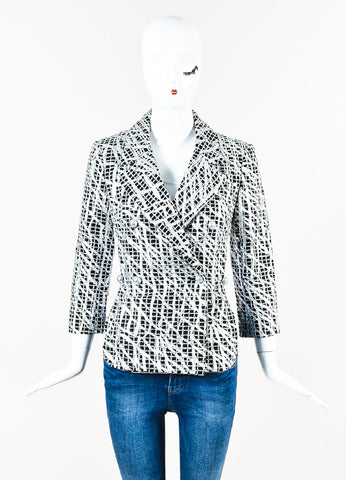 Chanel Black, Metallic Silver, and Grey Wool Blend Tweed Cropped Back Jacket frontview