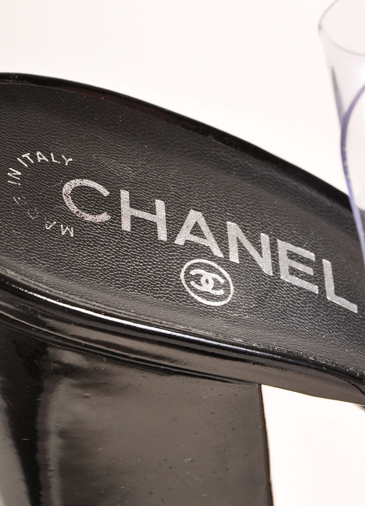 Chanel Black Patent Leather, Clear, and Silver Platform Sandals Brand