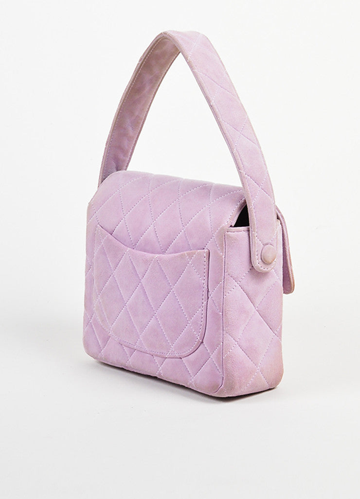 Lavender Purple Chanel Suede Quilted Turn Lock Mini Flap Purse Bag Sideview