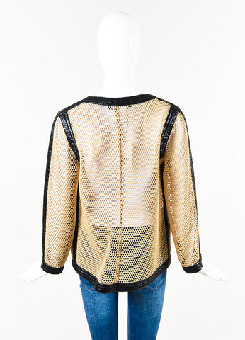 Chanel Tan & Black Mesh Contrast Trim Zip Up Long Sleeve Jacket Back