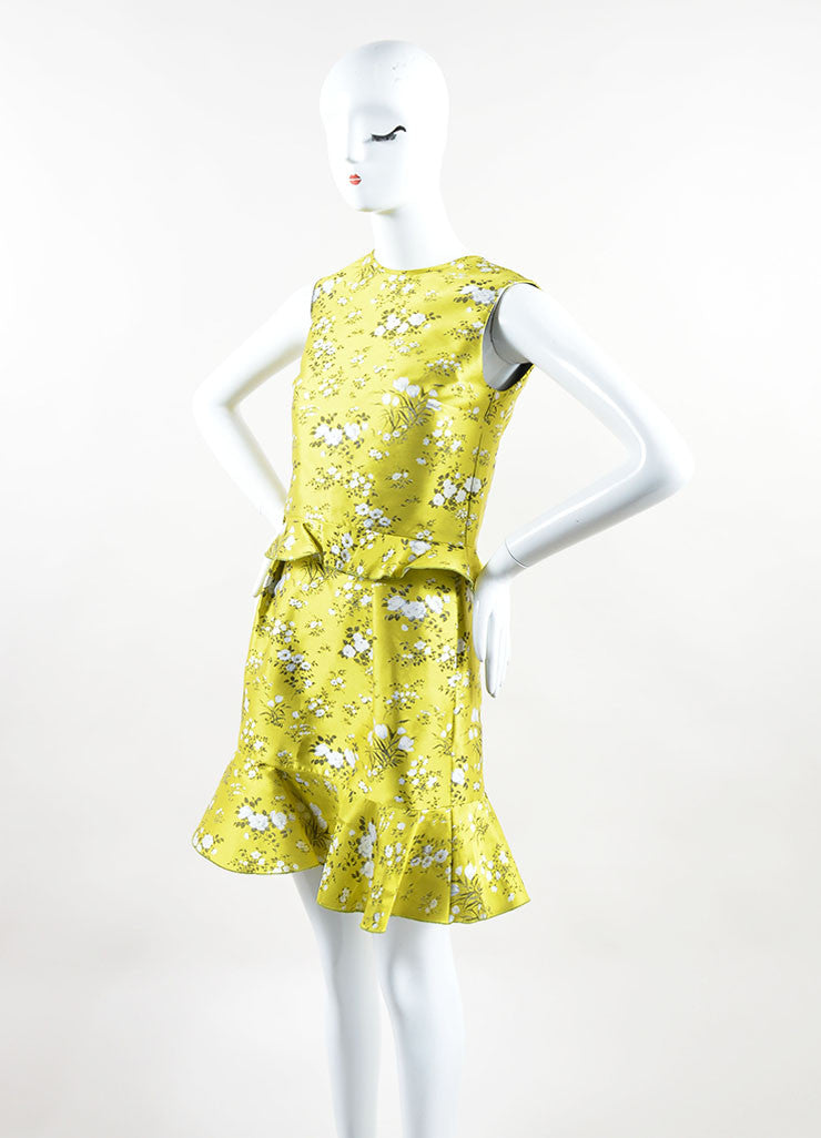 "Erdem Yellow and White Jacquard Floral Tiered Peplum Sleeveless ""Talia"" Dress Side"