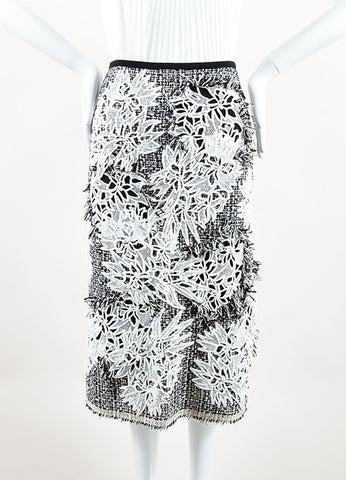 Erdem Black and White Tweed Floral Embroidered Fringe Pencil Skirt Frontview