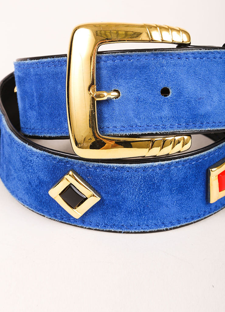 Escada Blue, Black, and Gold Toned Suede Geometric Embellished Belt Detail