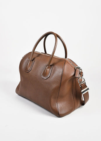 "Givenchy Brown Grained Leather ""Medium Antigona"" Satchel Bag Sideview"