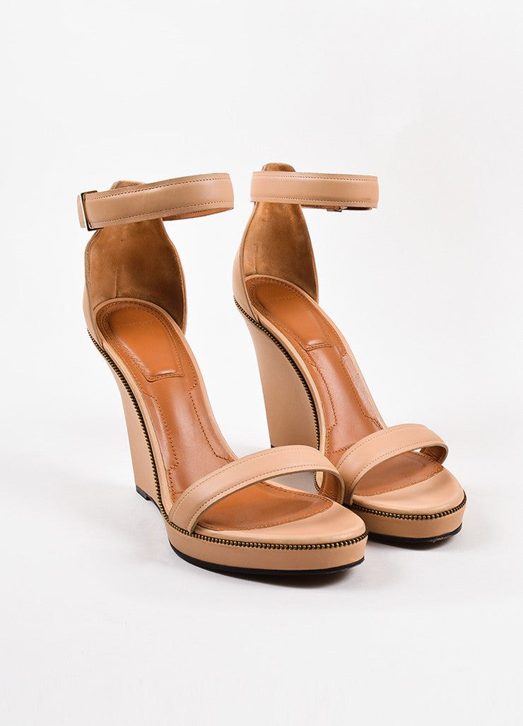 Givenchy Nude Leather Zipper Trim Ankle Strap Open Toe Wedge Sandals Front