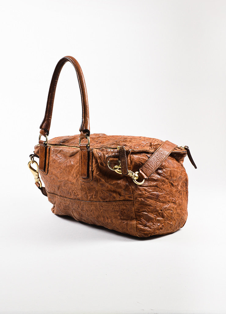 "Givenchy Brown and Gold Toned Sheepskin Distressed Leather ""Medium Pandora"" Bag Sideview"