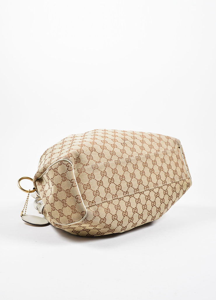 "Gucci Cream and Brown Canvas and Leather ""GG"" Monogram ""Guccissima"" Shoulder Bag Bottom View"