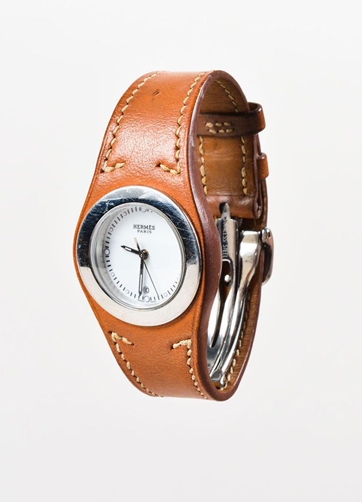 "Hermes Cognac Brown Leather Stainless Steel ""Harnais"" Watch Sideview"