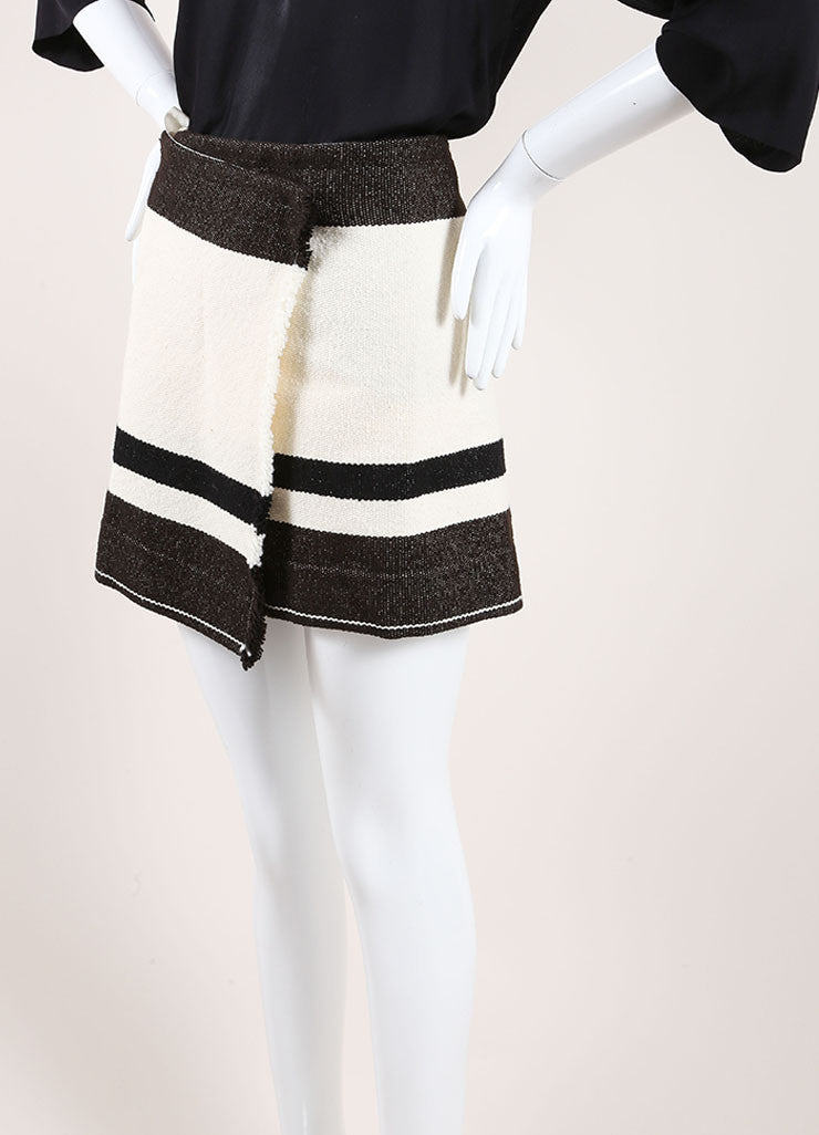 "Isabel Marant Black and Cream Wool Striped ""Adelaide Blanket"" Skirt Sideview"