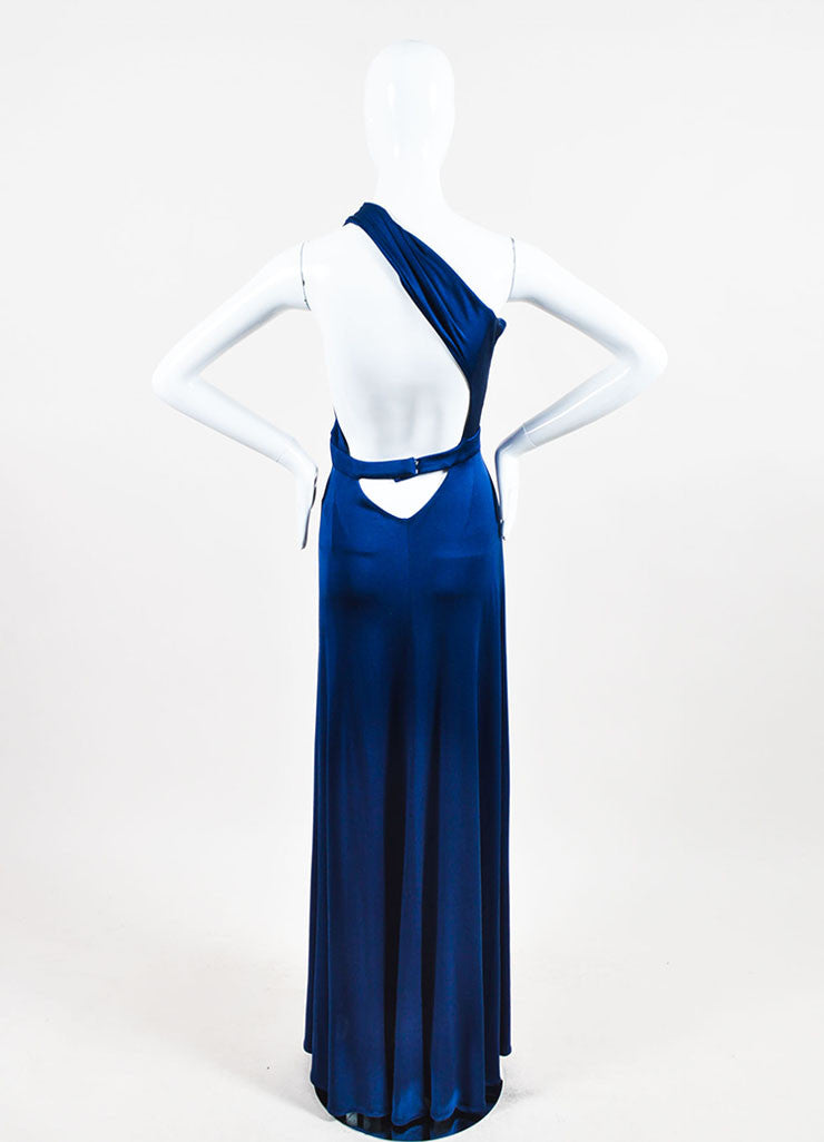 Blue Issa London Silk Jersey One Shoulder Maxi Dress Back