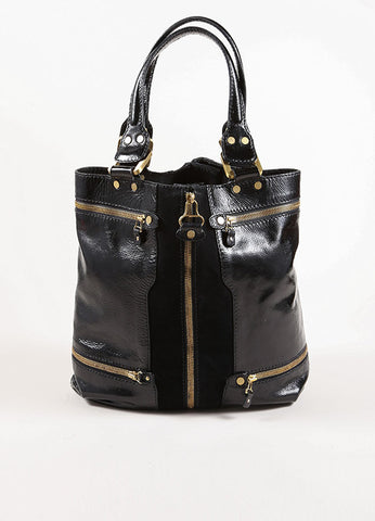 "Jimmy Choo Black and Gold Zipper Suede Leather Expandable ""Mona"" Tote Bag Frontview"