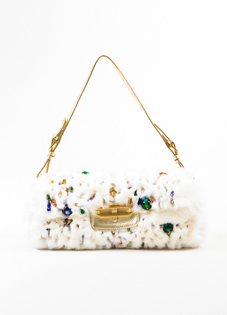 "Jimmy Choo White Rabbit Fur Multicolor Beaded Gold Toned Handle ""Tulita"" Bag Frontview"