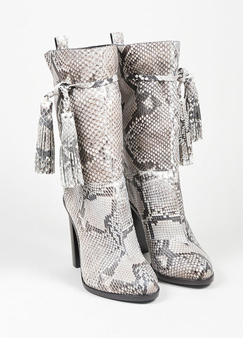 White and Grey Lanvin Python Tassel Mid Calf Heel Boots Frontview