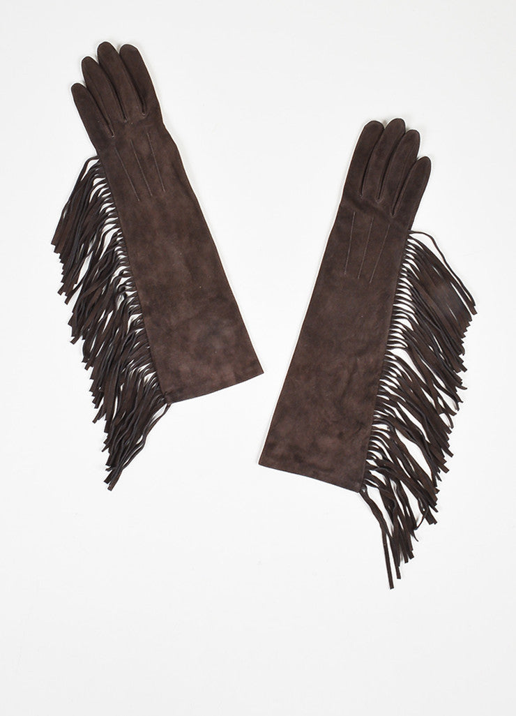 Brown Lanvin Suede Leather Fringe Trimmed Long Gloves Front
