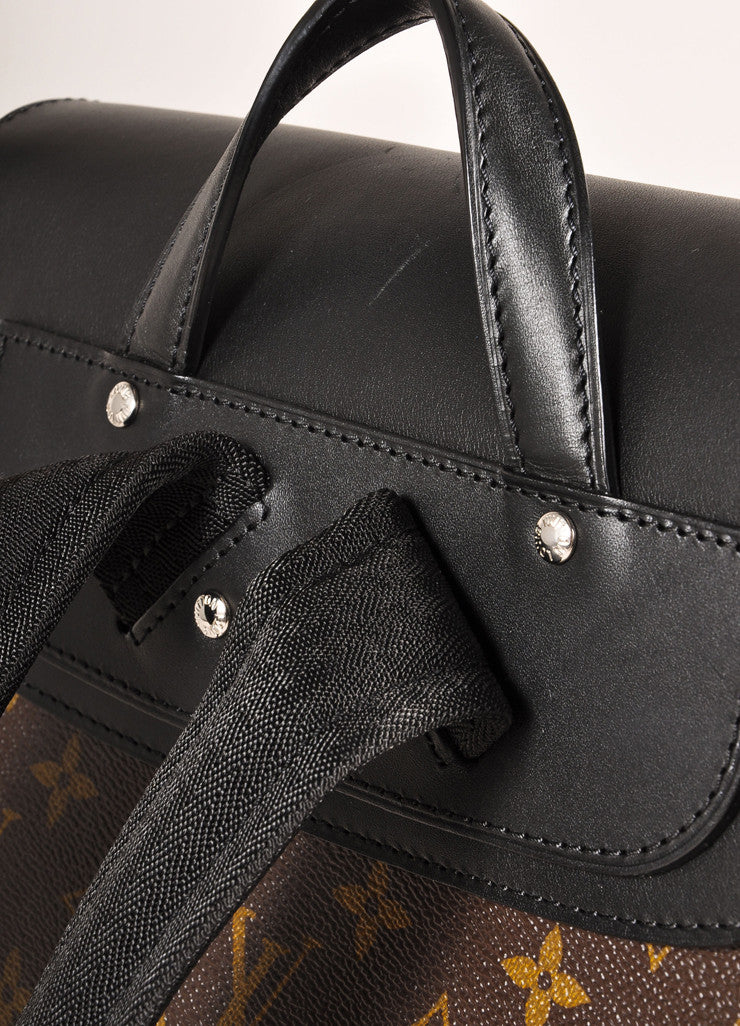 "Louis Vuitton Brown and Black Monogram Macassar Canvas and Leather ""Palk"" Backpack Detail 2"
