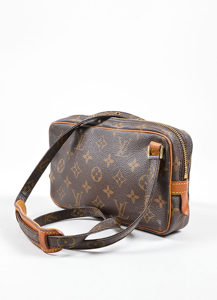 Louis Vuitton Brown Coated Canvas Leather Trim Cross Body Bag Backview