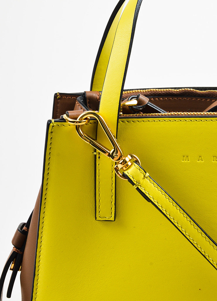 Yellow and Brown Marni Leather Color Block Tote Bag Detail 3