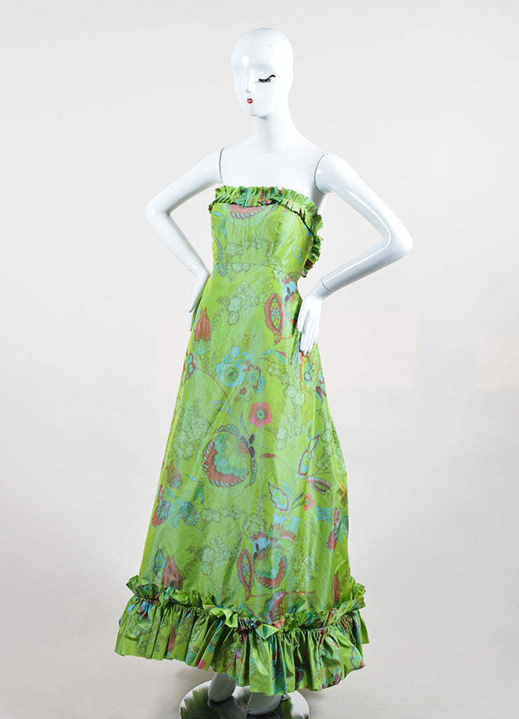 Green, Orange, and Blue Oscar de la Renta Floral Print Strapless Ruffled Gown Sideview