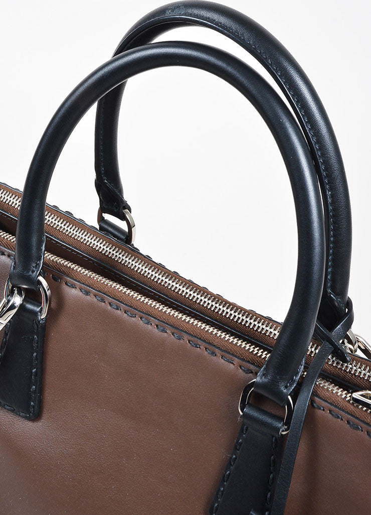 Brown and Black Prada Leather Topstitch City Calf Double Zip Tote Bag Detail 2