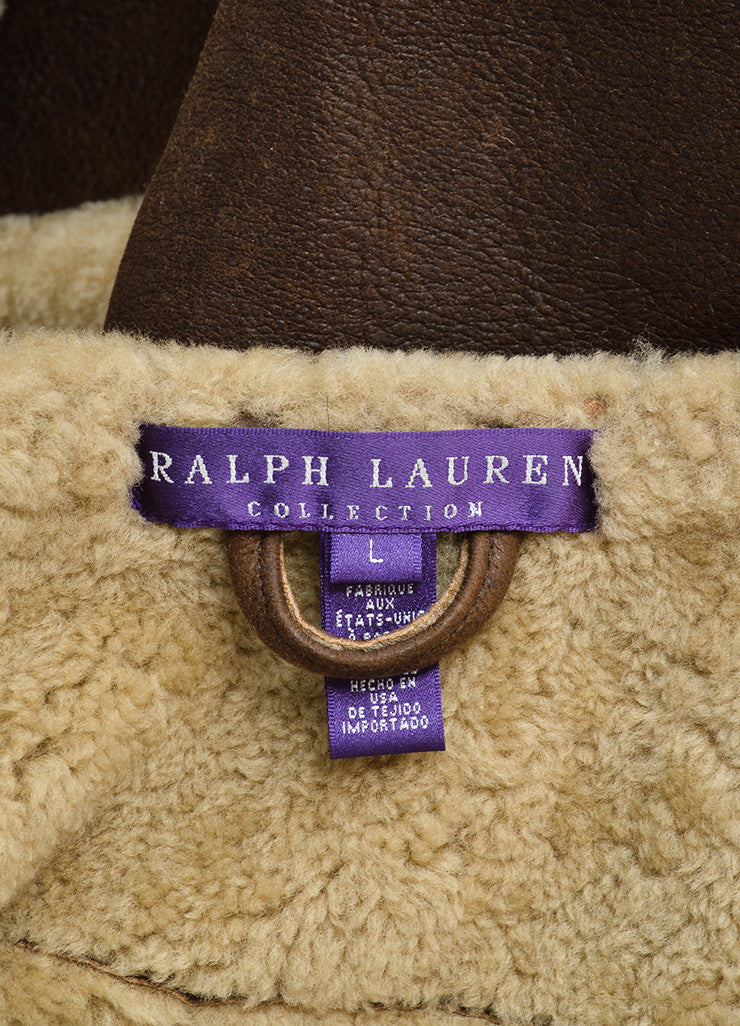 Ralph Lauren Collection Brown Leather Shearling Cropped Vest Brand