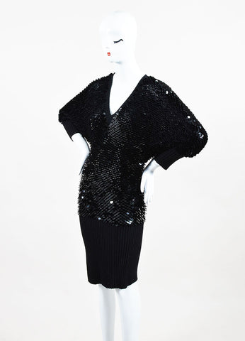 Roberto Cavalli Black Cashmere Paillette Embellished Sweater Dress Sideview