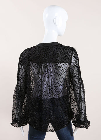 Salvatore Ferragamo Black Sheer Sparkly Wrap Top Back