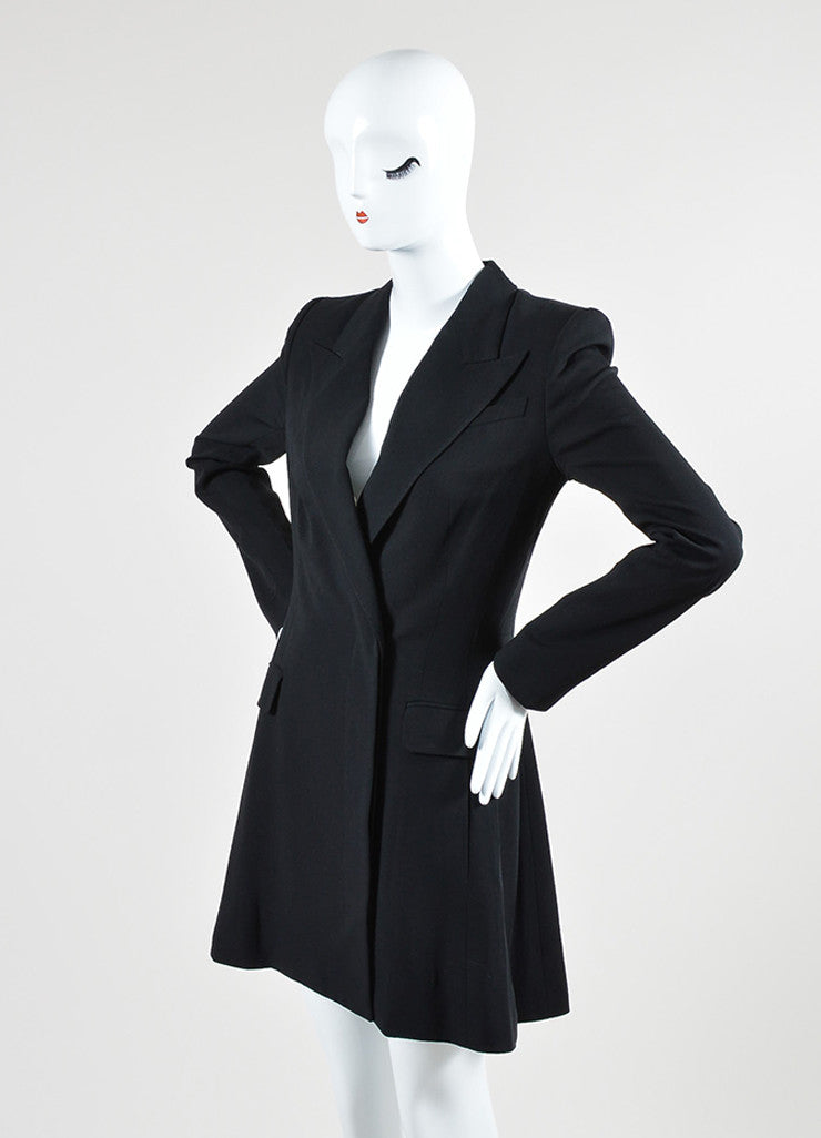 The Row Black Wool Blend Long Sleeve Blazer Dress Sideview