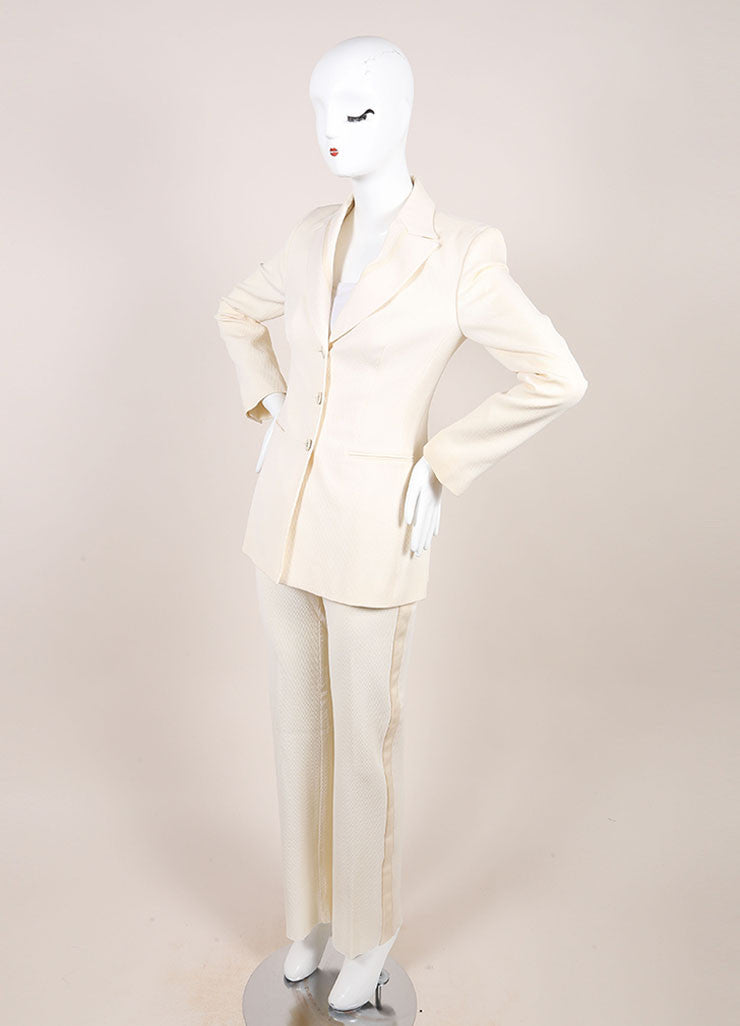 Versace Cream Diamond Textured Wool Tuxedo Pants Suit Sideview
