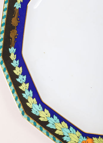 "Versace Rosenthal Blue and Green ""Le Roi Soleil"" 10.5 inch Dodecagaon Dinner Plate Detail"