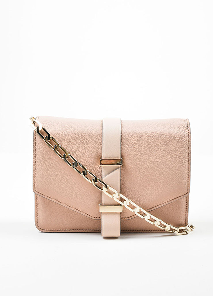 Pink Nude Victoria Beckham Leather Mini Chain Strap Satchel Bag Frontview
