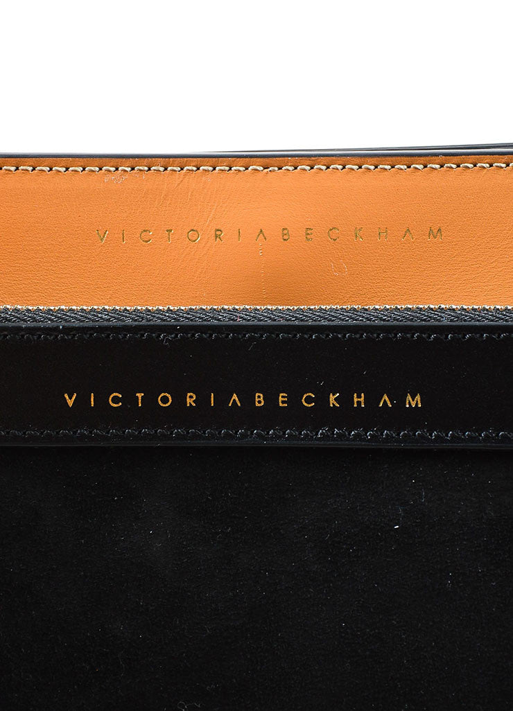 "Tan & Navy Victoria Beckham Leather Color Block ""Half Moon"" Bag Brand"