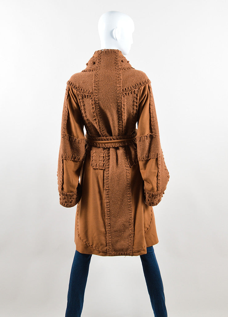 Yves Saint Laurent Brown Wool Woven Knit Belted Sweater Coat Backview