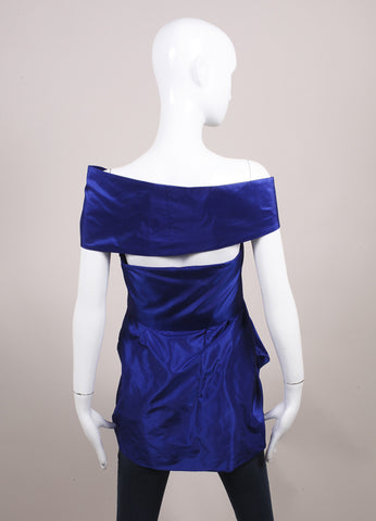 "Wes Gordon ""Lapis"" Blue Silk Taffeta Turban Draped Empire Top Backview"
