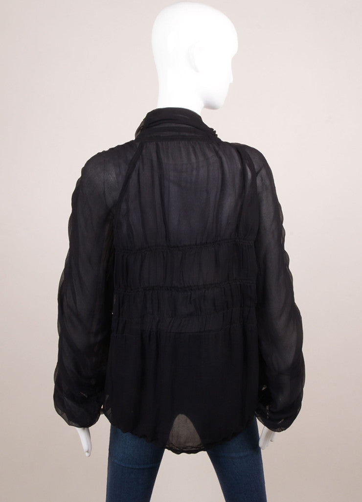 Alberta Ferretti Black Silk Chiffon Ruched Sheer Jacket Backview