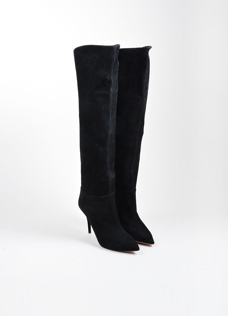"Black Aquazzura Suede Leather Knee High Stiletto ""Masha"" Boots Frontview"
