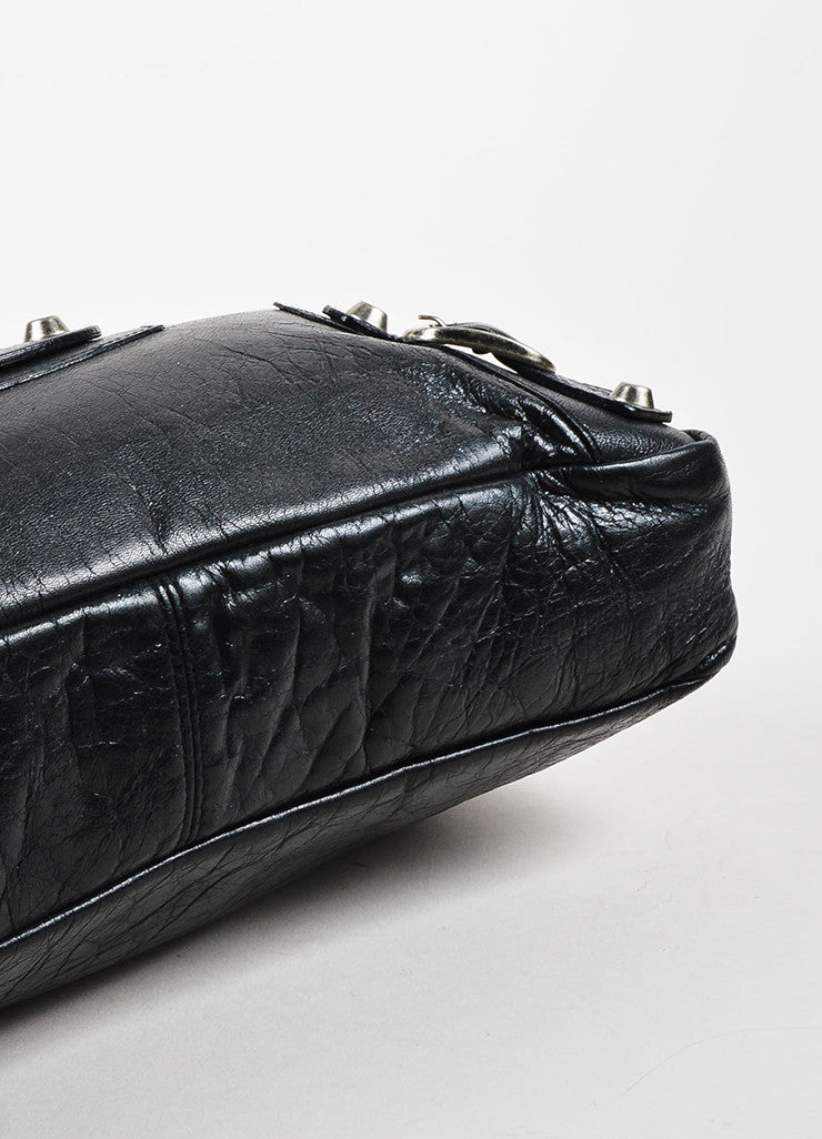 "Balenciaga Black Leather Silver Toned Hardware ""Classic First"" Shoulder Bag Bottom View"