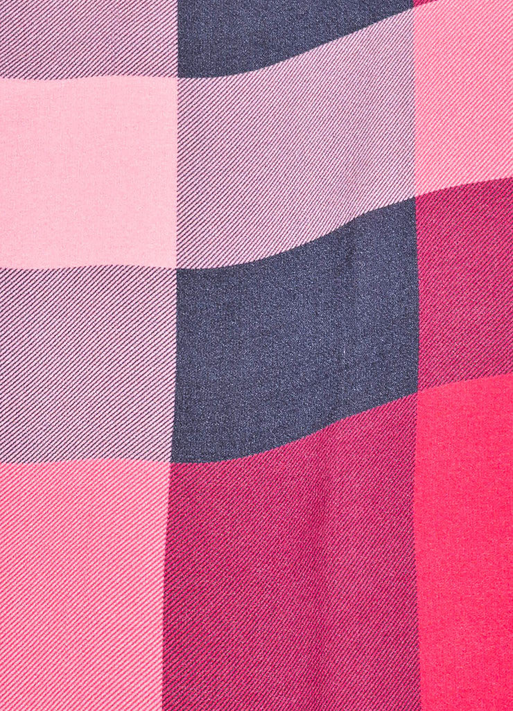 Pink, Black, and Orange Burberry Silk Check Print Scarf Detail 3