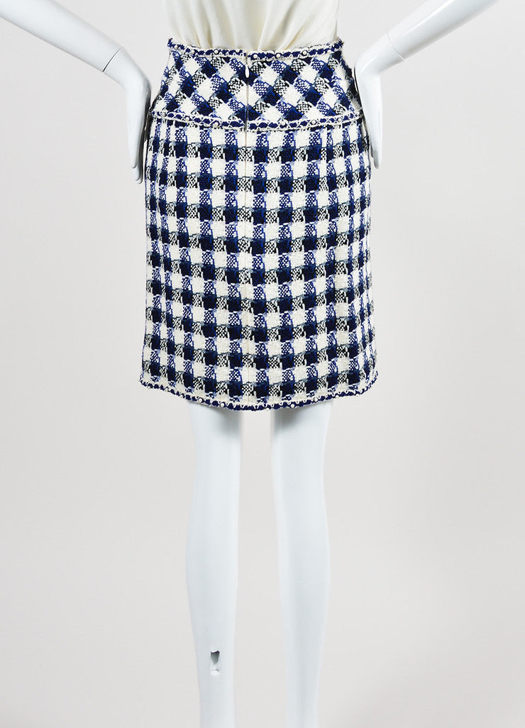 Cream, Blue, and Black Chanel Wool and Faux Pearl Checkered Pencil Skirt Backview