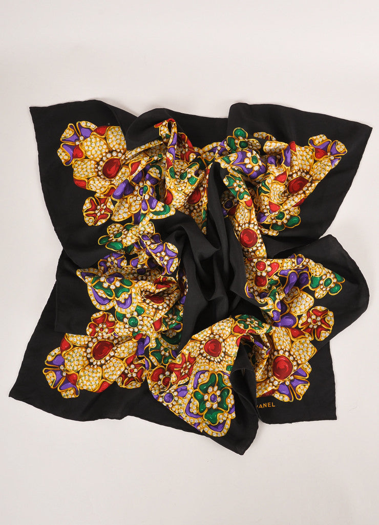 Chanel Black and Multicolor Jeweled Floral Print Silk Scarf Frontview