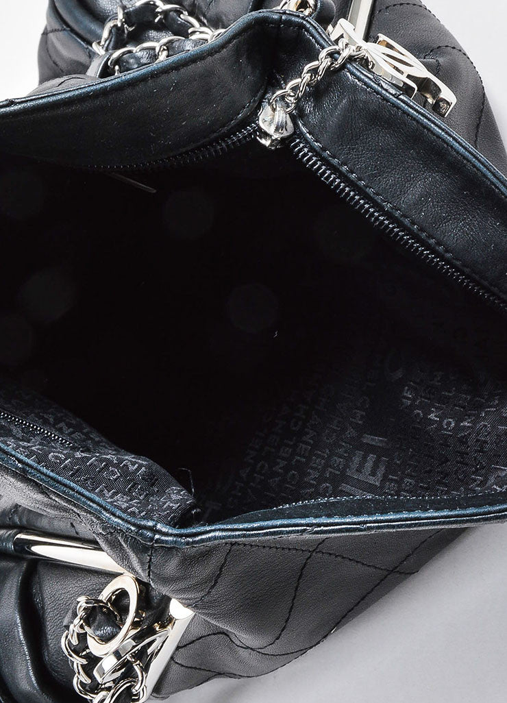 Chanel Black Quilted Leather Fold Over Chain Strap Shoulder Bag Interior