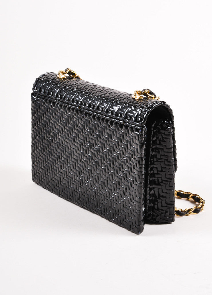 "Chanel Black Woven Straw Rectangular ""CC"" Turnlock Chain Strap Flap Shoulder Bag Sideview"
