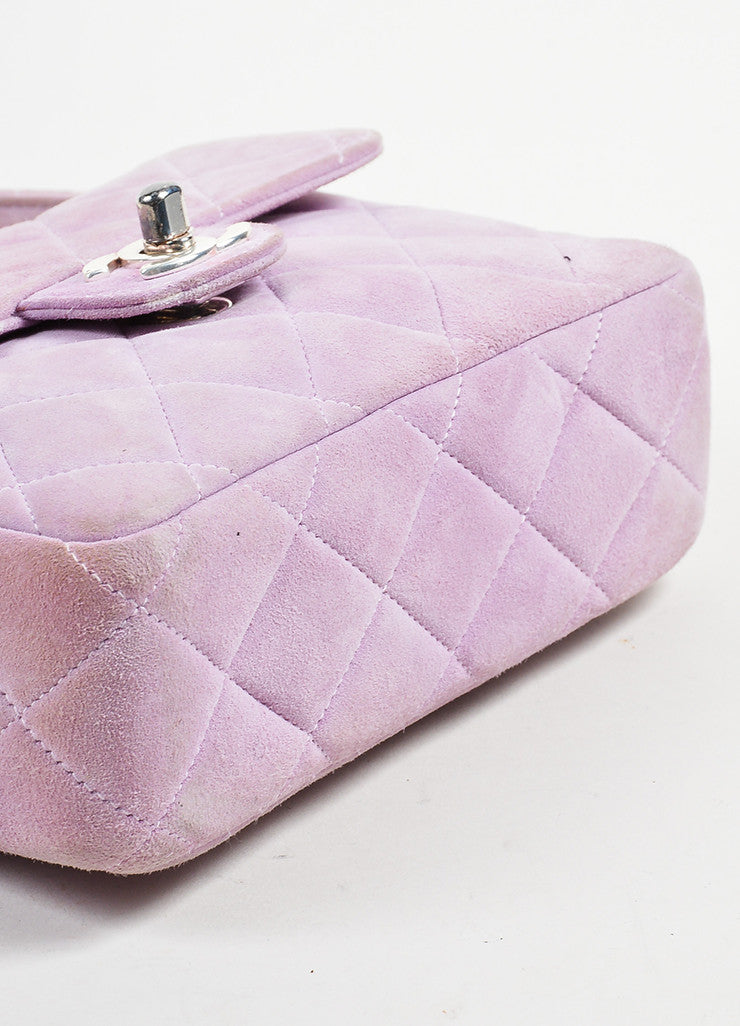 Lavender Purple Chanel Suede Quilted Turn Lock Mini Flap Purse Bag Bottom View